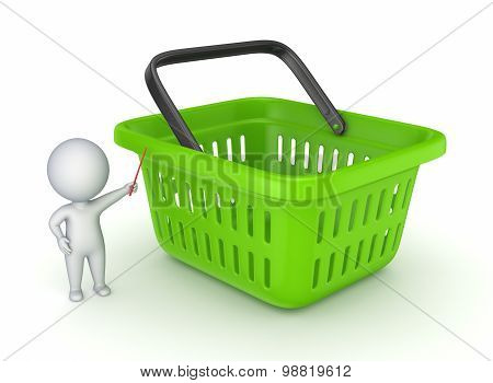 3d small person and green basket.