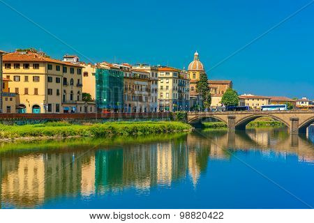 Quay of the river Arno in Florence, Italy