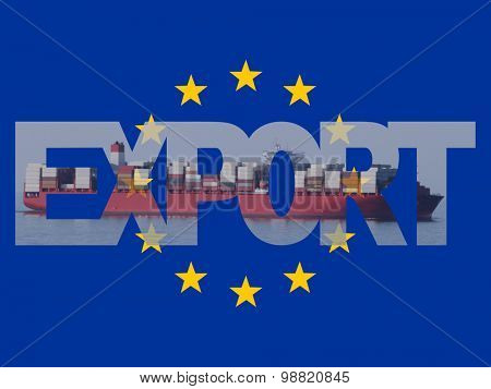 Container ship with export text and EU flag illustration