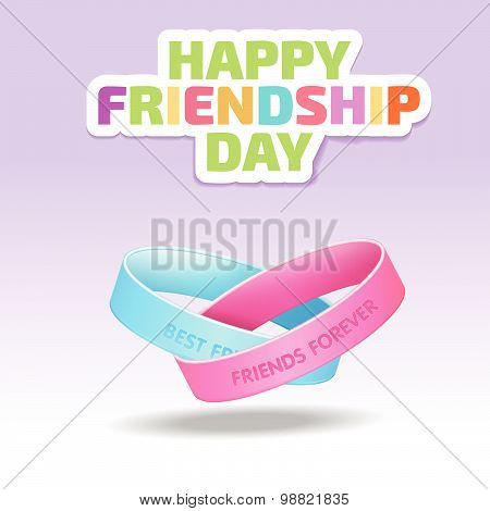 Friendship bands with text best friends forever. illustration of friendship band on Happy Friendship