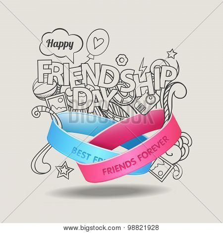 Friendship bands with text best friends forever and hand drawn doodle scetch background. Happy frien