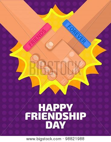 Illustration of two friends who shaking hands Flat, people wearing friendship band. Friends forever