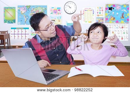Girl Close Her Ears When Get Advice From Teacher