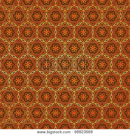 Vector seamless ornament in Eastern style. Ornamental lace pattern for wedding invitations and greet