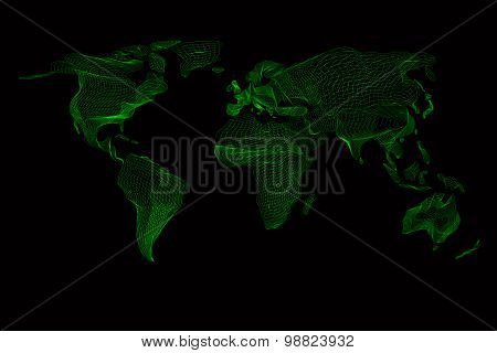 World map. Abstract vintage computer graphic of green lines