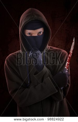 Murderer With Bloody Knife 2
