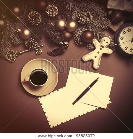 Coffee And Letter With Christmas Gifts On Red Background.