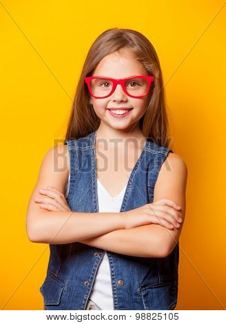 Beautiful Young Girl With Red Glasses