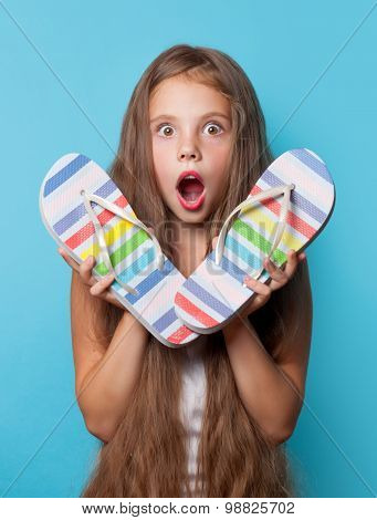 Young Surprised Girl With Flip Flops