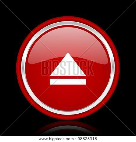 eject red glossy web icon chrome design on black background with reflection