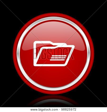 folder red glossy web icon chrome design on black background with reflection
