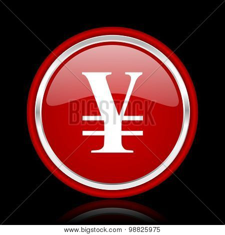 yen red glossy web icon chrome design on black background with reflection