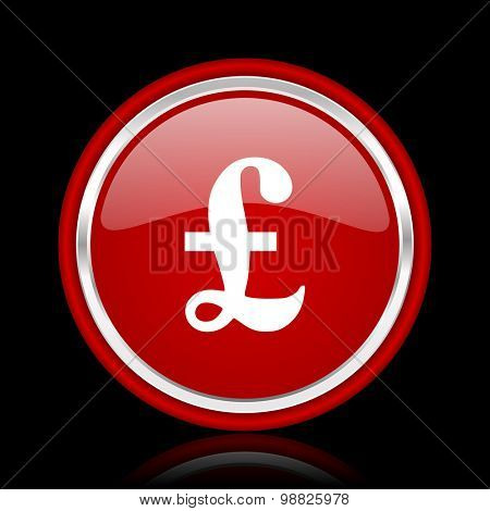 pound red glossy web icon chrome design on black background with reflection