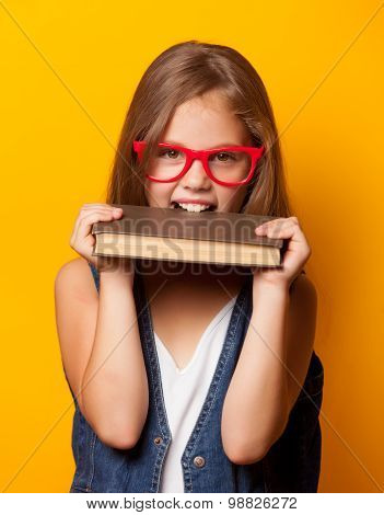 Girl In Red Glasses With Books