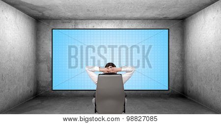 Businessman Looking On Plasma Panel