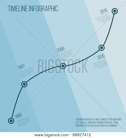 Flat blue diagonal timeline infographic