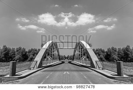 Strange bridge in mirror reflection