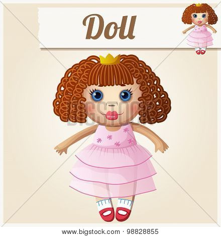 Girl doll. Cartoon vector illustration. Series of children's toys