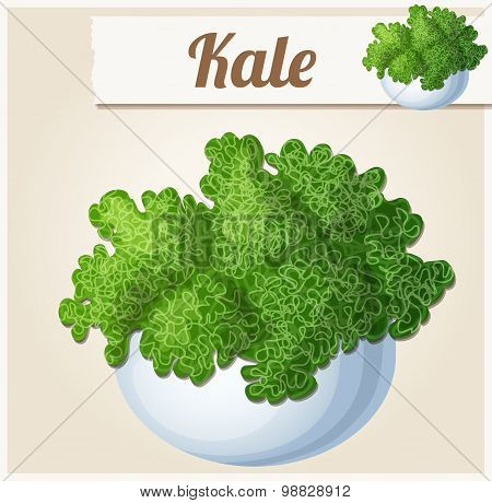 Kale in bowl. Detailed Vector Icon