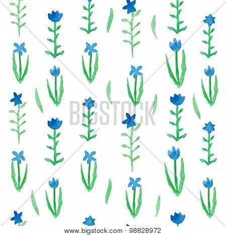 Floral seamless pattern blue flowers with green leafs.