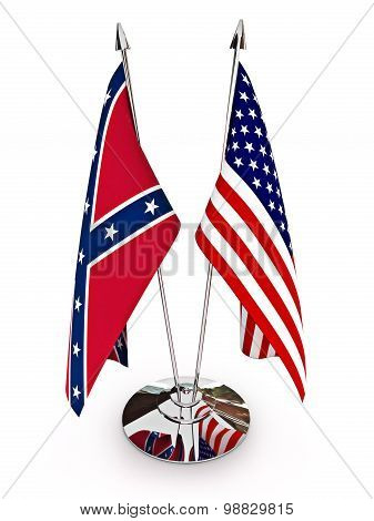 Confederate and American flags isolated on a white background.