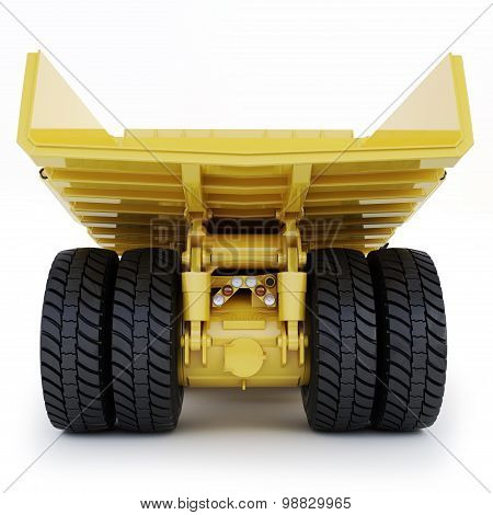 Large industrial mining dump truck rear view