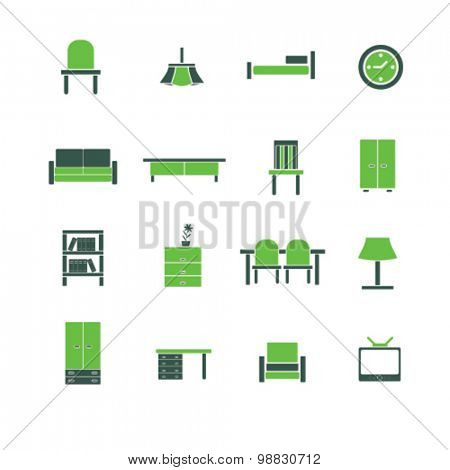 furniture icons, signs, illustrations