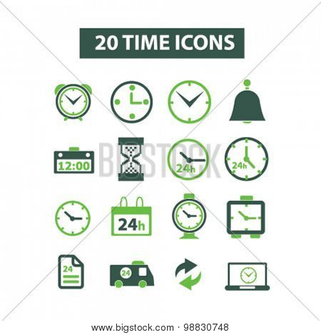 time, clock, 24h icons
