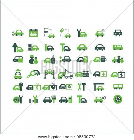 car services, auto station icons, signs, illustrations