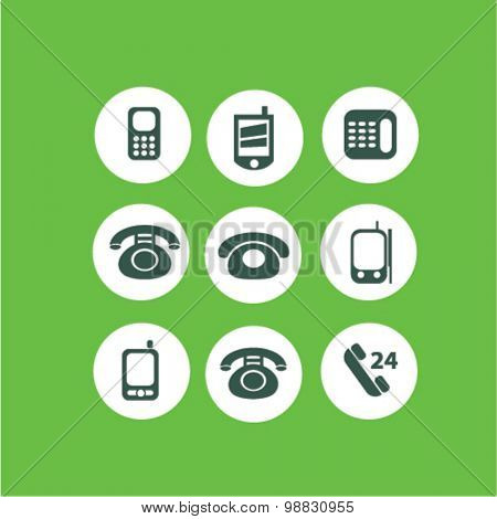 mobile, phone icons, signs, illustrations