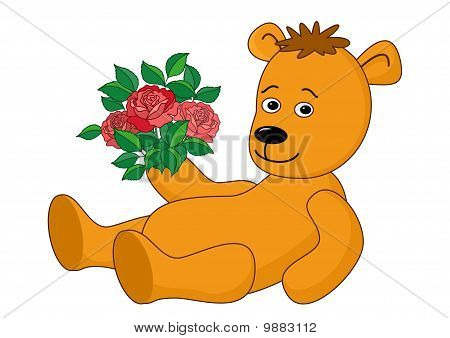 Bear laying with a bouquet of roses