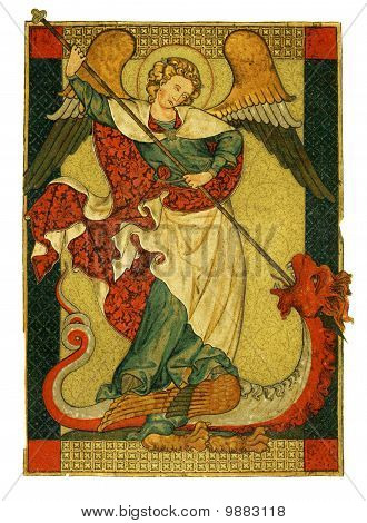 St Michael Triumphant Over The Devil Antique Painting