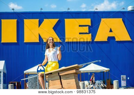 Woman buying IKEA products