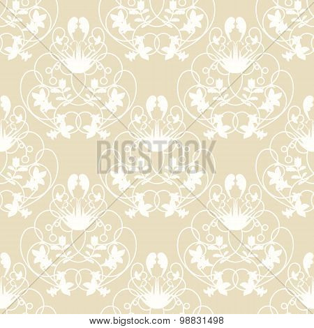 Elegant damask beige seamless vector background with delicate swirl