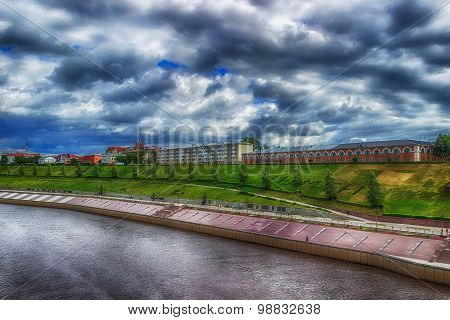Centre Tyumen Embankment Top View Hdr Russia