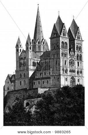 Limburg Cathedral Beautiful Detailed Woodblock Print