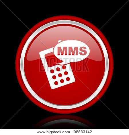 mms red glossy web icon chrome design on black background with reflection