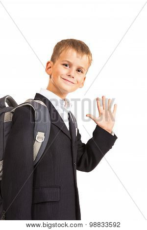 Schoolboy Sitting On Books