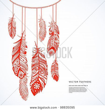 Illustration of Ehnic feathers can be used as a greeting card