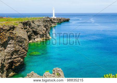 Cape Zanpa Lighthouse, Okinawa, Japan.