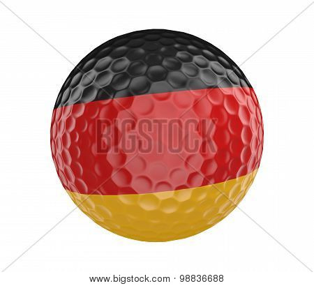 Golf ball 3D render with flag of Germany, isolated on white