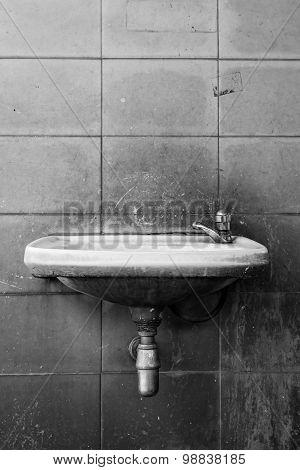 Black And White Of Old Washbasin