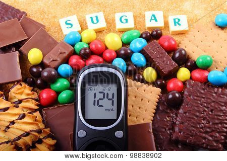 Glucometer, Sweets And Cane Brown Sugar With Word Sugar, Unhealthy Food