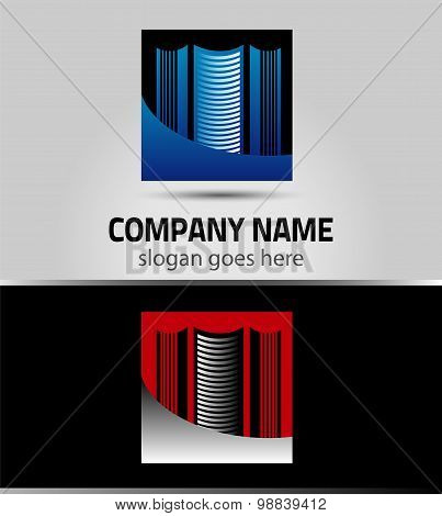Real estate company sign. Logo design with commercial building
