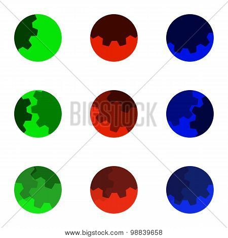 Colorful Abstract Gears Logo Set