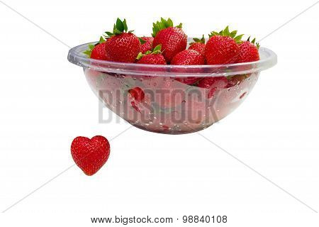 Strawberry Heart And Bowl Of Strawberries