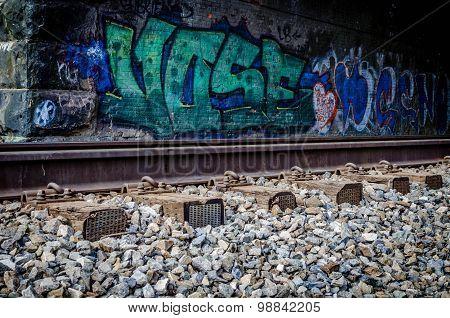 Ellicott City, MD - MARCH 2 2013 - Patapsco Valley State Park - Spray Painting - Union Dam Tunnel