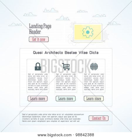 Vector landing page template in modern flat design. One page business website with clouds
