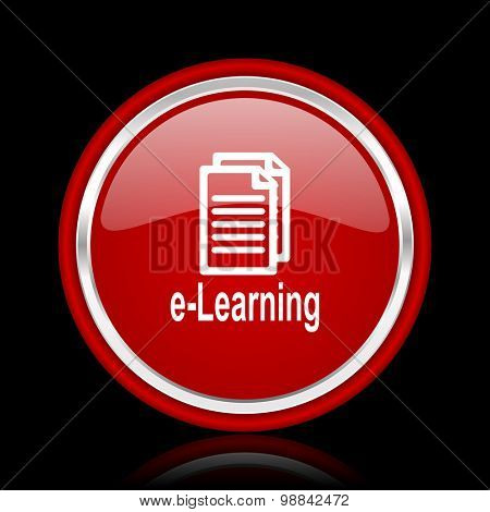 learning red glossy web icon chrome design on black background with reflection
