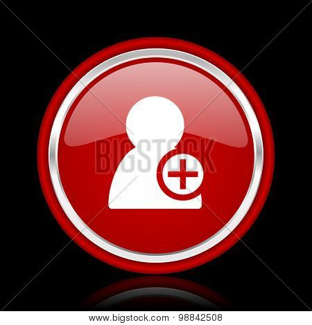 add contact red glossy web icon chrome design on black background with reflection